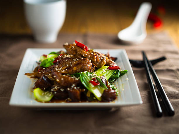 oriental beef stir-fired - chinese food stock photos and pictures