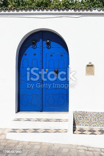 Blue door in Arabic style, Sidi Bu Said, Tunisia, Africa