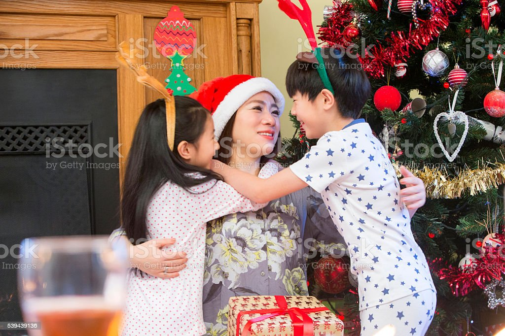 Oriental Christmas Cuddles stock photo
