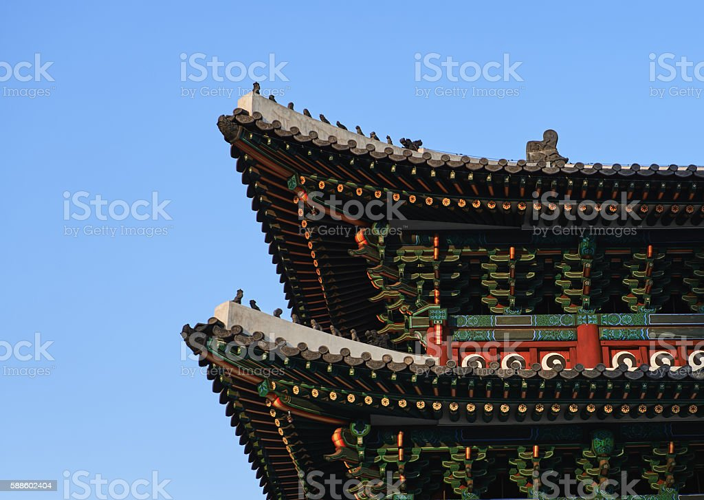 Oriental curved roof stock photo