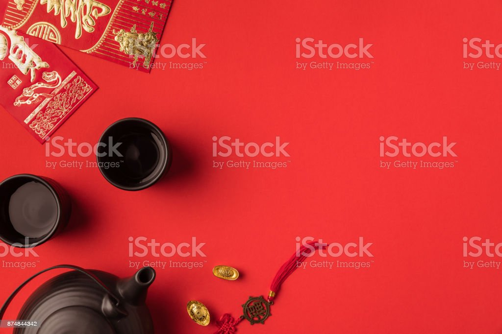 oriental decorations and tea set stock photo