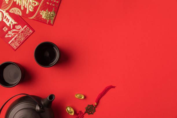 orientalische dekorationen und tee-set - feng shui einrichten stock-fotos und bilder