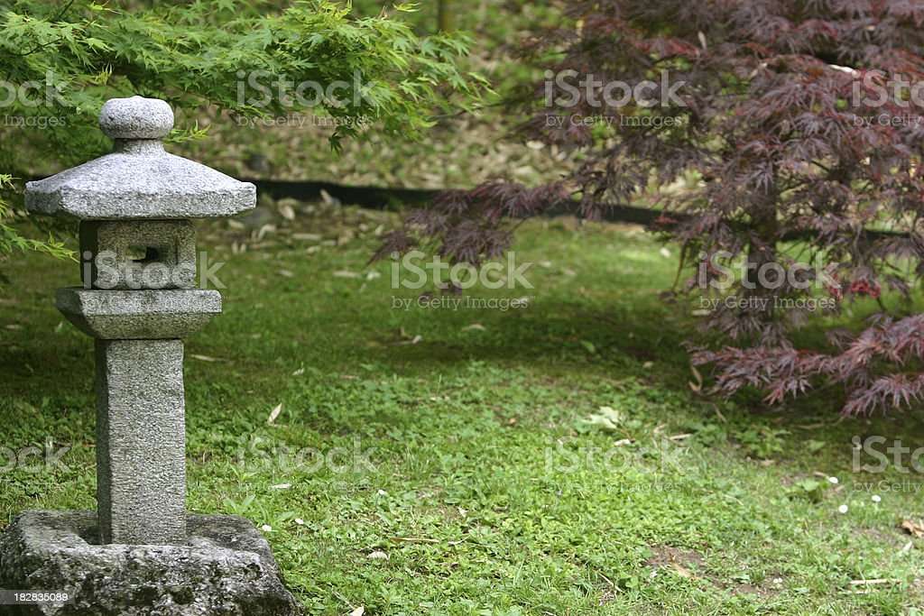 Oriental element in the garden stock photo