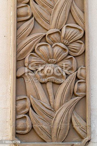 Oriental flower pattern,Carved flower on stone
