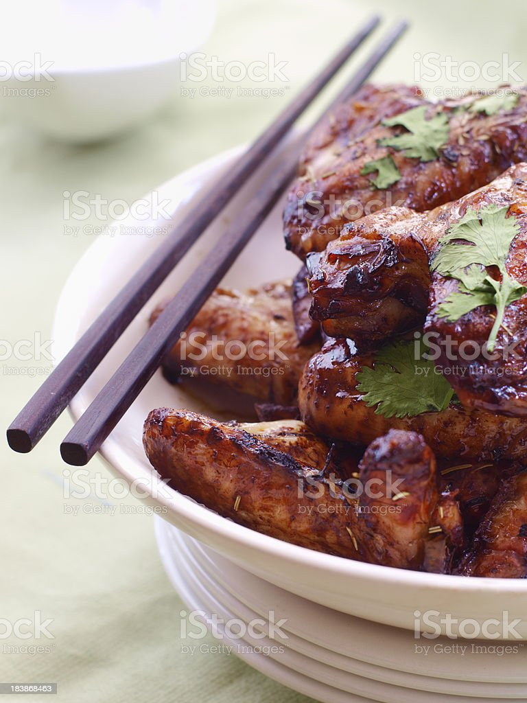 oriental glazed chicken wings royalty-free stock photo