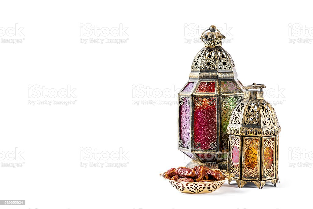 Oriental holidays decoration light lantern Ramadan kareem stock photo