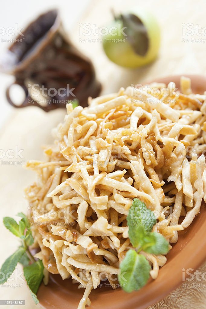 Oriental honey sweetness on a large plate royalty-free stock photo