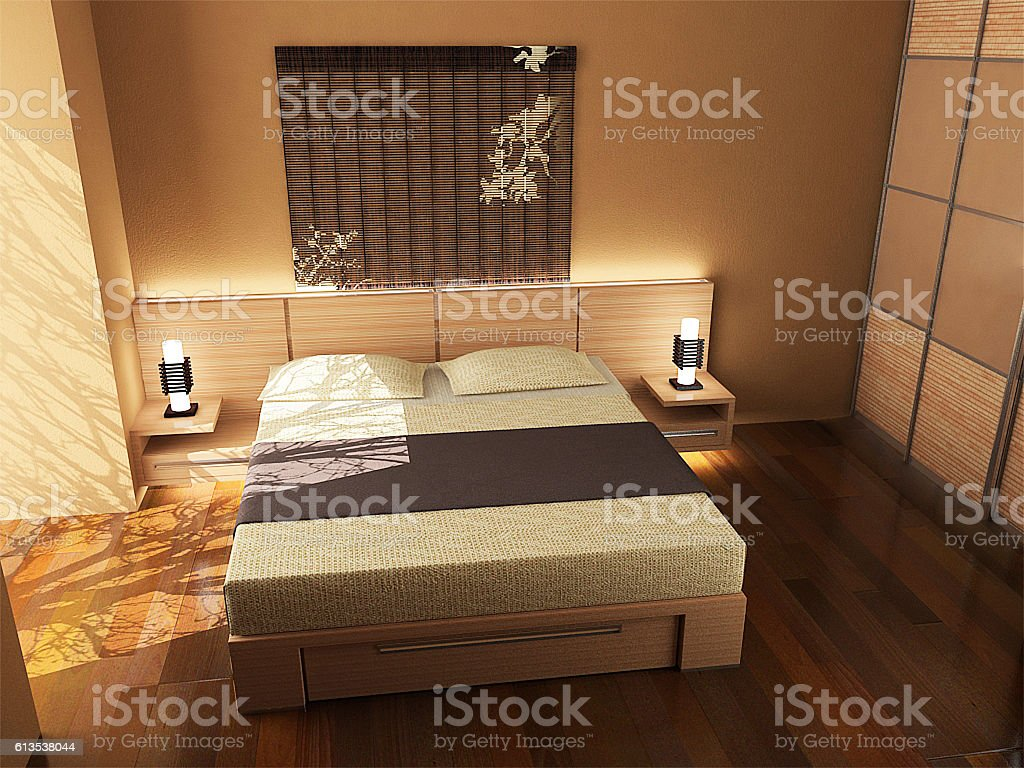 Oriental inspired bedroom design, 3d render – Foto
