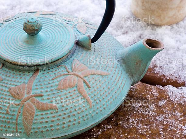 Oriental iron teapot on a frosty wooden deck picture id601934178?b=1&k=6&m=601934178&s=612x612&h=gdlj zpjz1mkxbskn13z7jr0laxjlqwenhn5kdddlom=