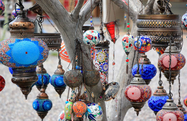 Oriental lamps on the branches of a tree. Close-up. Cappadocia, Central Anatolia, Turkey. stock photo