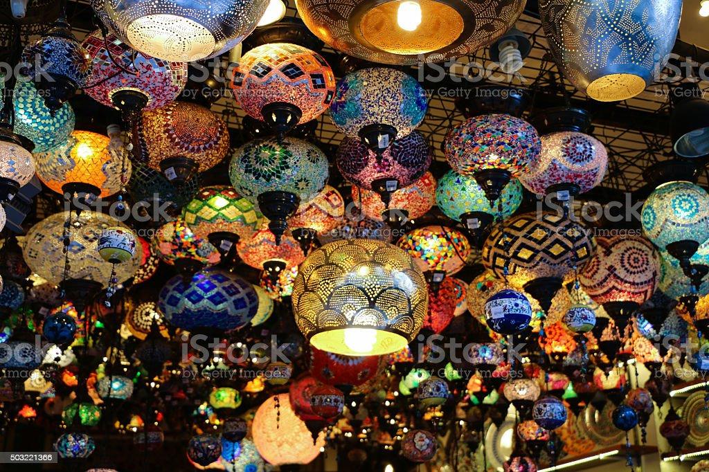 Oriental lanterns on a Turkish bazaar stock photo