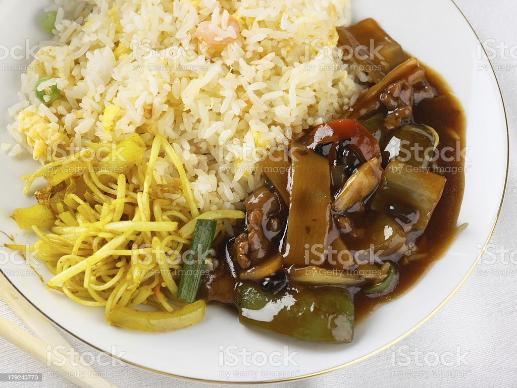 Oriental meal, freshly cooked stock photo
