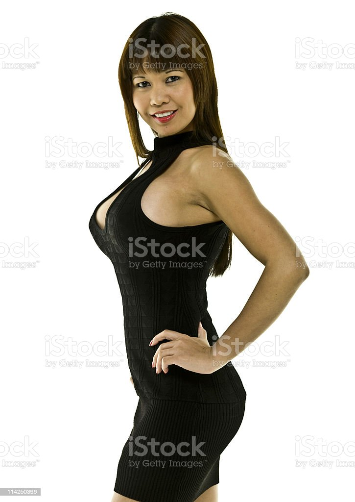 Oriental Model in a Fashion Show stock photo
