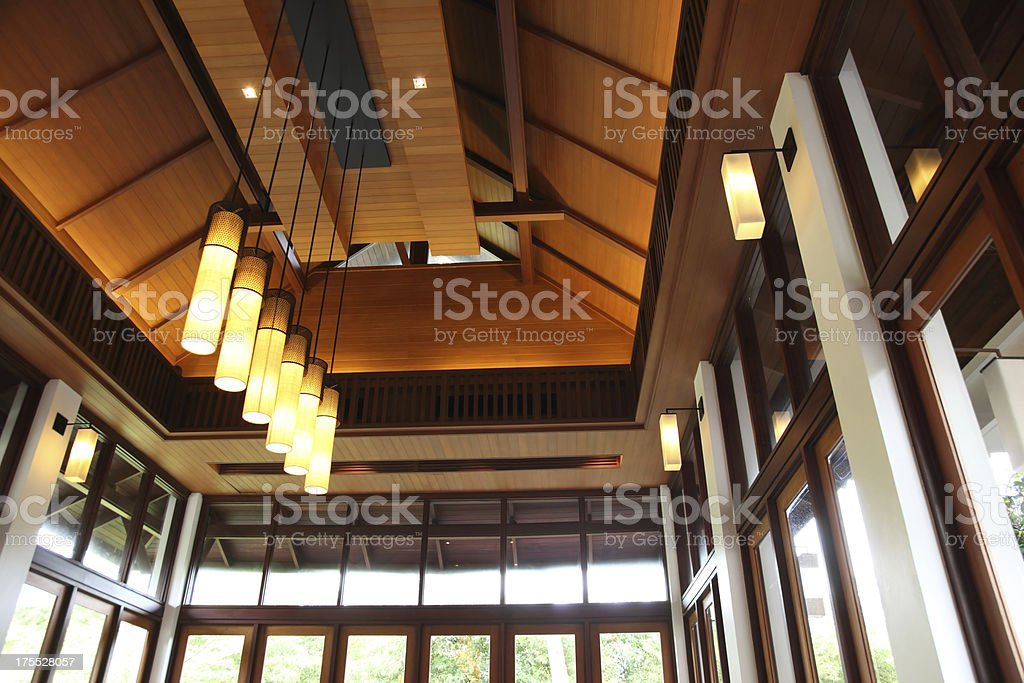 Oriental Modern Style Building Ceiling stock photo