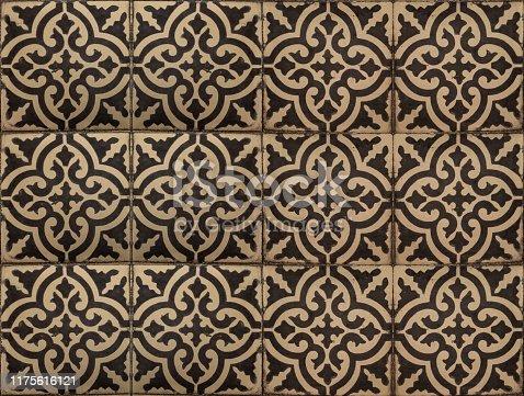 Close up decorative Moroccan tile textured