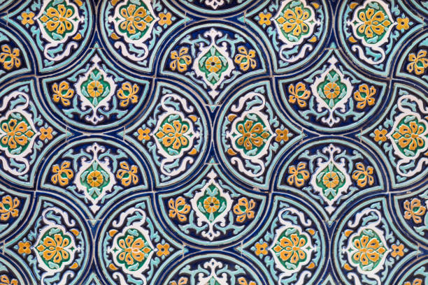 Oriental ornaments on a wall stock photo