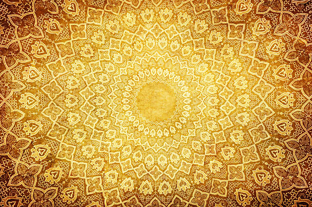 Oriental ornaments on circular pattern grunge background with oriental ornaments arabic style stock pictures, royalty-free photos & images