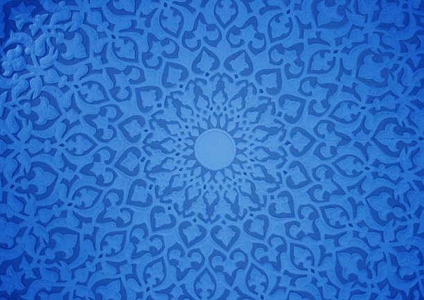 Oriental ornaments Oriental ornaments plaster ceiling, blue version plaster ceiling design stock pictures, royalty-free photos & images