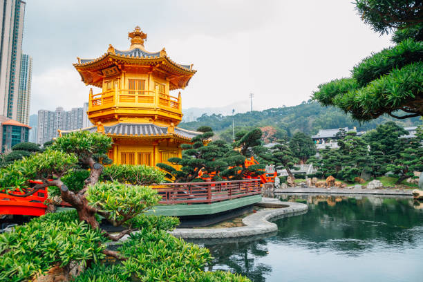 oriental pavilion in nan lian garden, hong kong - lian empty imagens e fotografias de stock