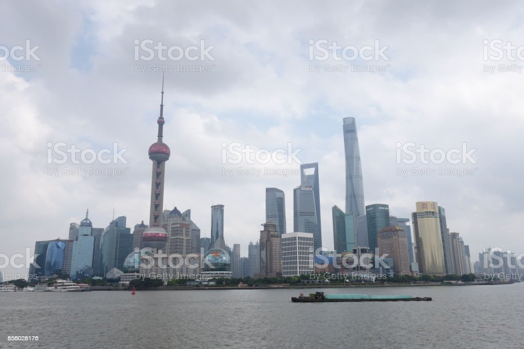 Oriental Pearl Tower and many buildings in Shanghai stock photo