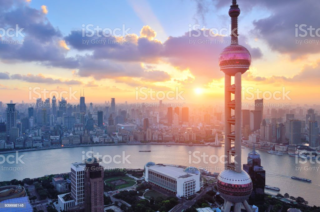 Oriental Pearl Tower and the Bund at Shanghai stock photo