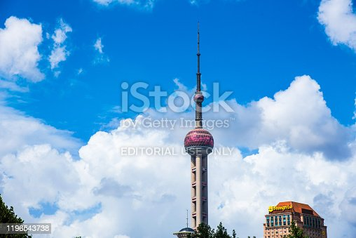 Shanghai, China - August 8, 2019: Oriental Pearl TV Tower in Shanghai modern downtown area of this Chinese metropolis at day time