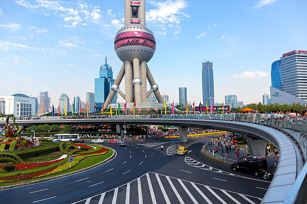 Oriental pearl TV tower Shanghai, China - OCT 3, 2015. Shanghai Oriental pearl TV tower building scenery. The Oriental pearl TV tower is the famous landmarks in Shanghai. oriental pearl tower shanghai stock pictures, royalty-free photos & images