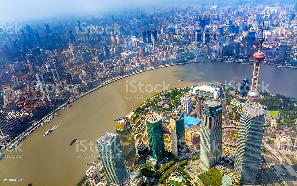 Oriental Pearl TV Tower Pudong Bund Huangpu River Shanghai China photo libre de droits