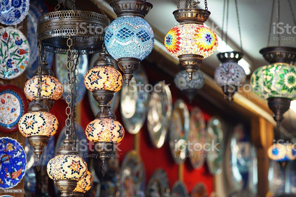Oriental souvenirs store stock photo