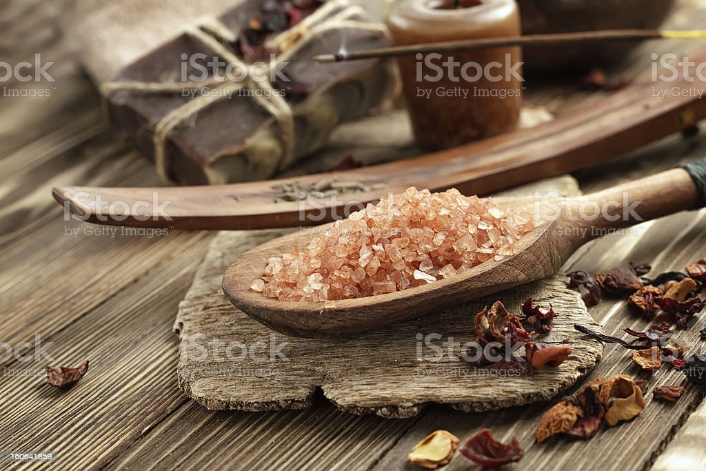 Oriental spa ingredients on wooden surface stock photo