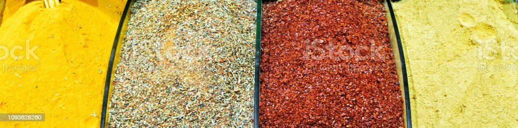 Oriental spices in Grand Bazaar, Istanbul, Turkey stock photo