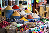 Various oriental spices on a market stand