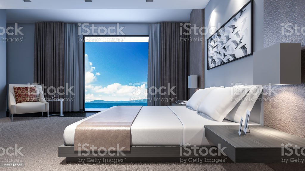Oriental style bedroom with sea view / 3D Rendering stock photo