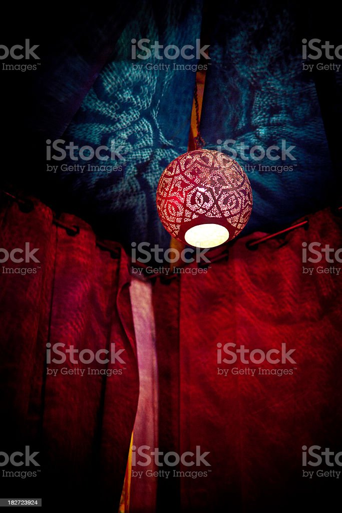 oriental style ceiling lamp in an outdoor club stock photo