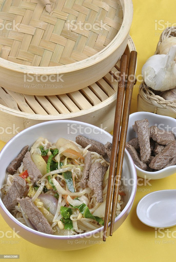 oriental style noode with organic beef royalty-free stock photo