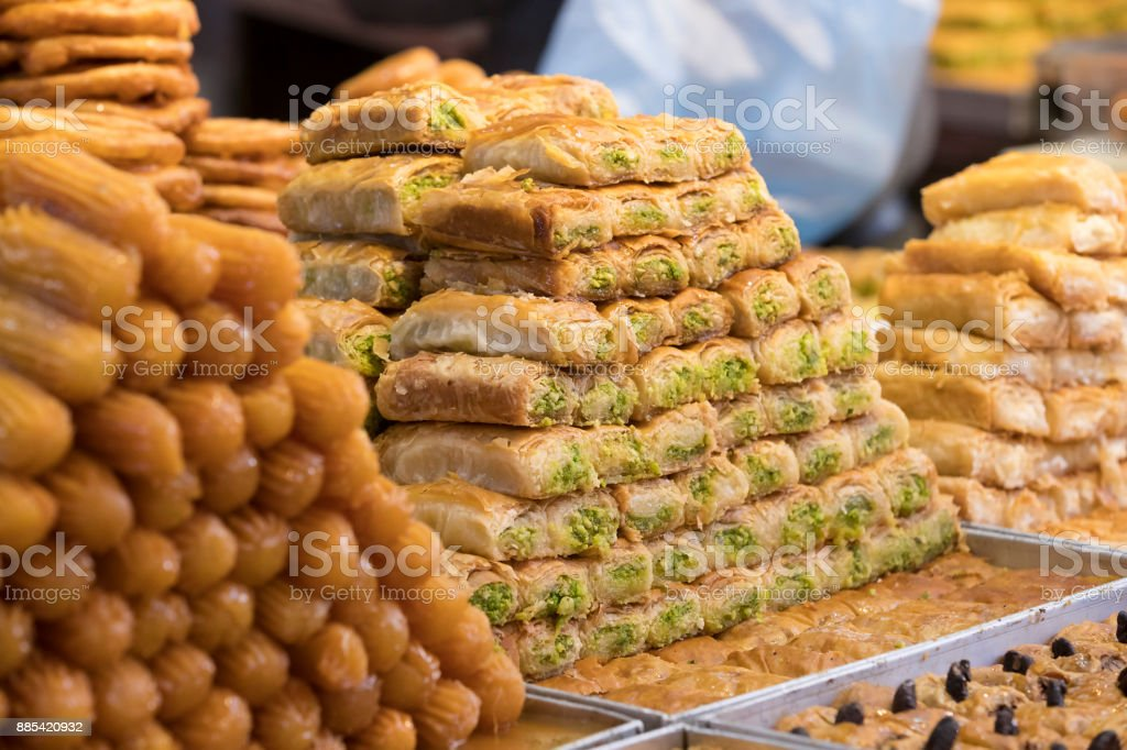 Oriental sweets baked on the market stock photo