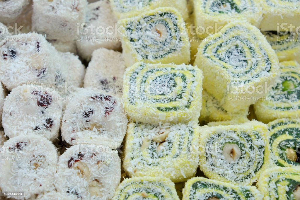 Oriental sweets in the local market, rahat loachum on the table stock photo