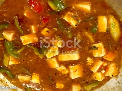 Hot and steamy tofu curry - ready to eat.