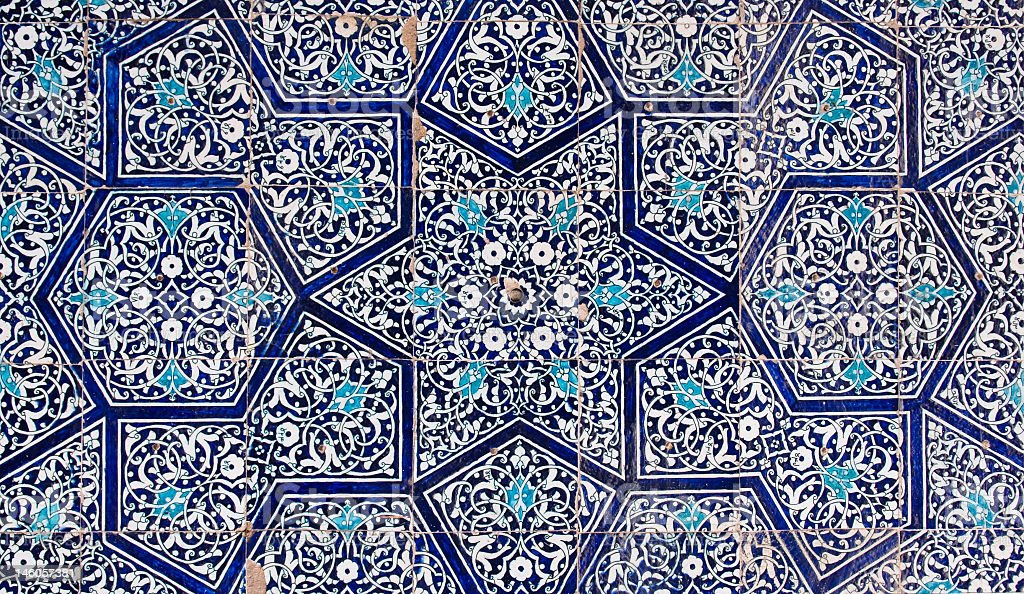 Oriental Uzbekistan blue tiles stock photo