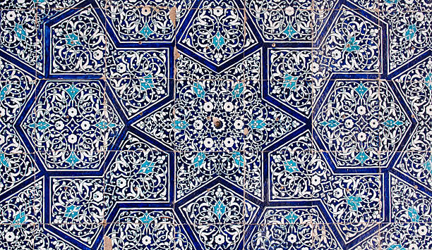Oriental Uzbekistan blue tiles Tiled background, oriental ornaments from Uzbekistan arabic style stock pictures, royalty-free photos & images