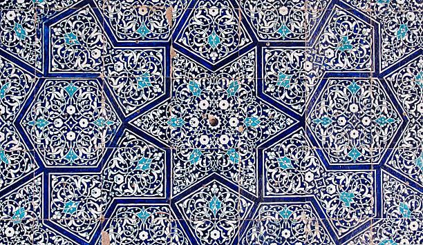fliesen hintergrund, orientalische verzierungen von usbekistan - arabeske stock-fotos und bilder