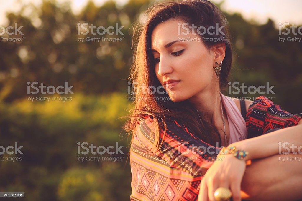 Oriental vintage fashion portrait stock photo