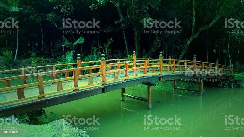 Oriental Wood Bridge stock photo