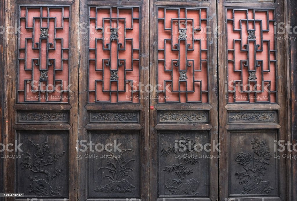 Oriental wooden door with chinese style. royalty-free stock photo & Oriental Wooden Door With Chinese Style Stock Photo u0026 More Pictures ...