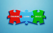 Colorful jigsaw puzzle pieces on blue background. Training, learn and skills words are written on the puzzle pieces. Horizontal composition with copy space. Great use for training concepts.