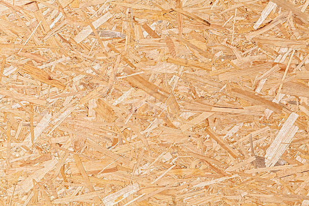Oriented strand board, fiberboard background of texture. stock photo