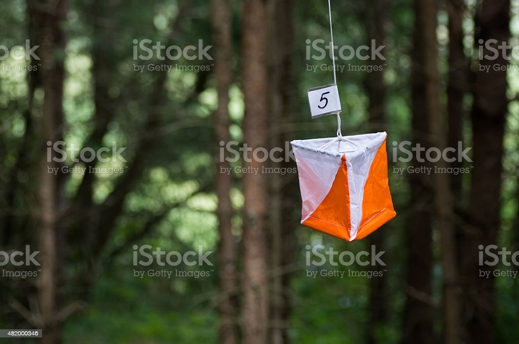 Orienteering flag stock photo