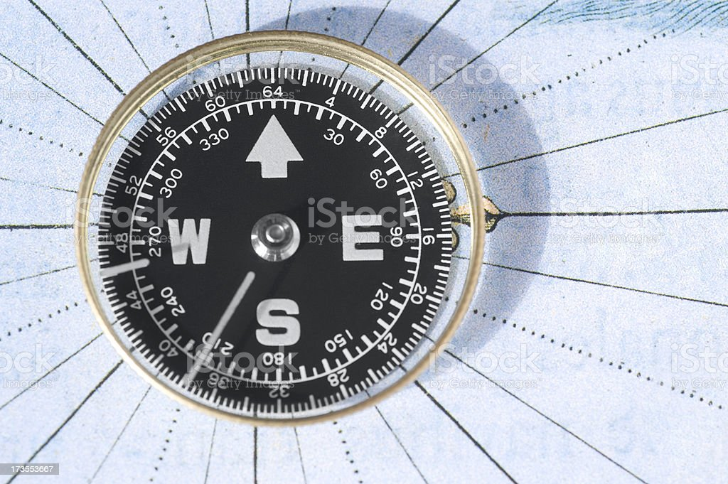 Orienteering with compass stock photo