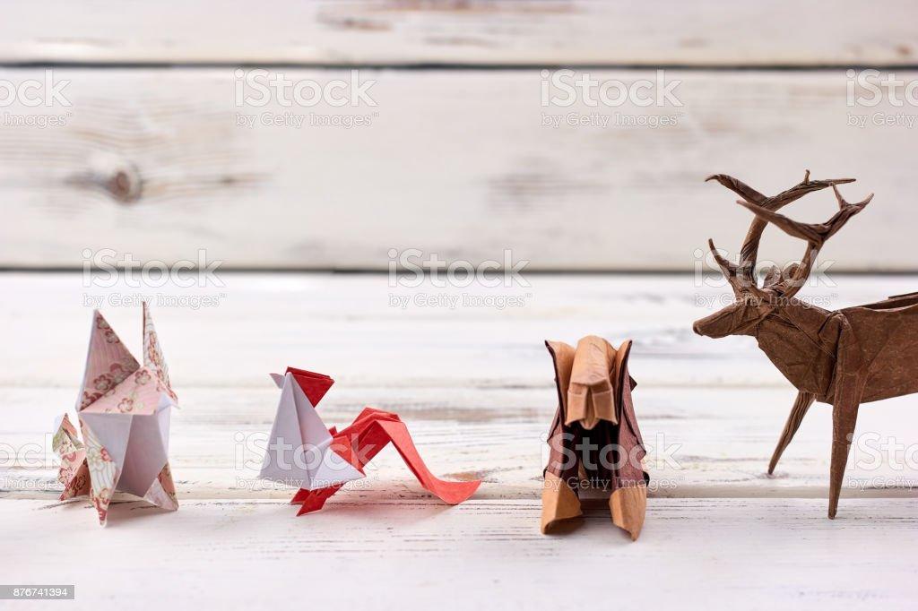 Origami animal models stock photo