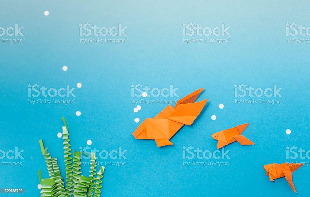 Origami Aquatic Scene Royalty Free Stock Photo